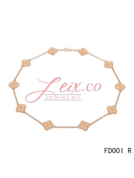 Van Cleef & Arpels Vintage Alhambra Long Necklace Pink Gold 10 Motifs