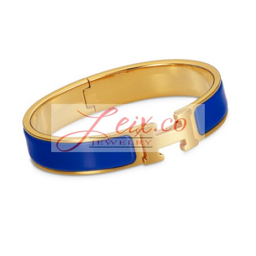 Hermes Royal Blue Enamel Clic H Narrow Bracelet In Yellow Gold