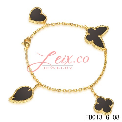 Van Cleef & Arpels Lucky Alhambra Yellow Gold Bracelet With 4 Black Onyx Motifs
