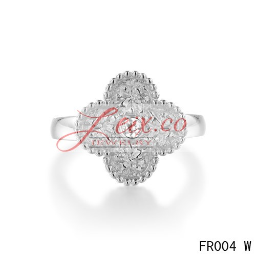 Van Cleef & Arpels Vintage Alhambra Ring,White Gold With Diamond