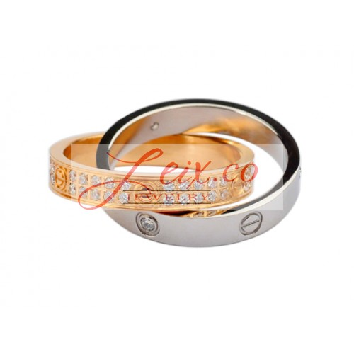 Cartier Infinity LOVE Ring In 18kt White Gold & Pink Gold With Diamonds-Paved