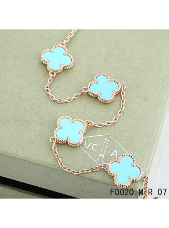 Van Cleef Arpels Vintage Alhambra Necklace Pink Gold 10 Motifs Turquoise