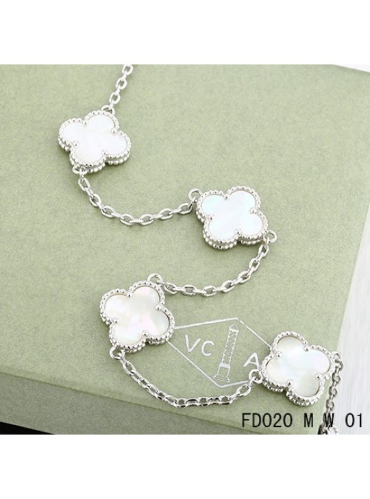 Van Cleef Arpels Vintage Alhambra Necklace White Gold 10 Motifs White Mother-of-Pearl