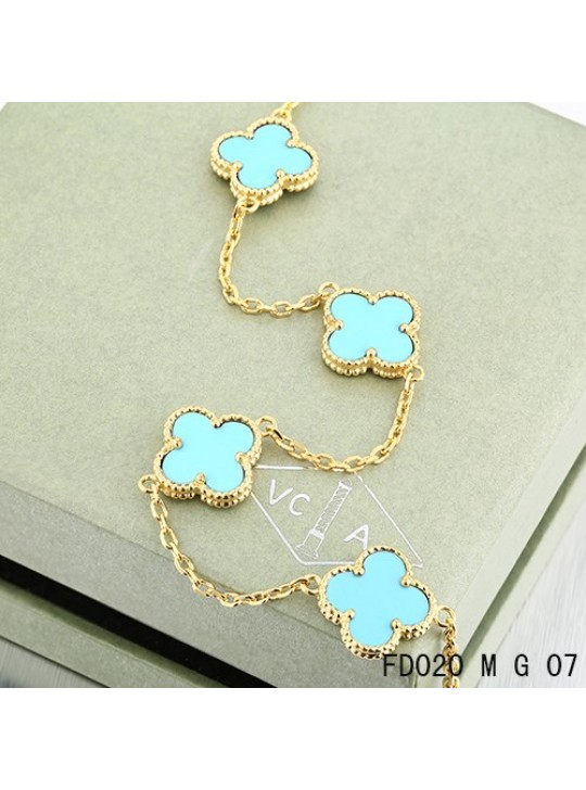 Van Cleef Arpels Vintage Alhambra Necklace Yellow Gold 10 Motifs Turquoise
