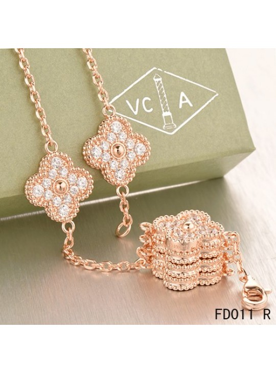 Van Cleef & Arpels Pink Gold Vintage Alhambra Necklace 10 Motifs with Pave Diamonds