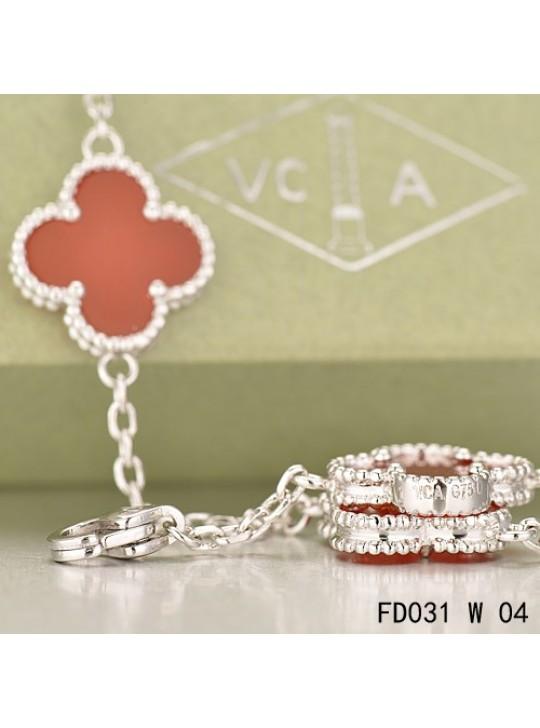 Van Cleef & Arpels Vintage Alhambra 20 Motifs Long Necklace White Gold Carnelian