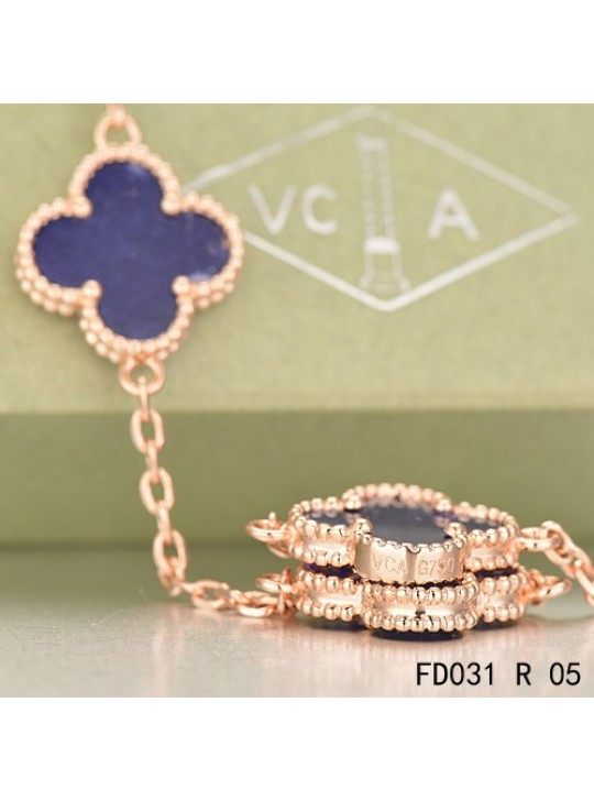 Van Cleef & Arpels Vintage Alhambra 20 Motifs Long Necklace Pink Gold Lapis lazuli