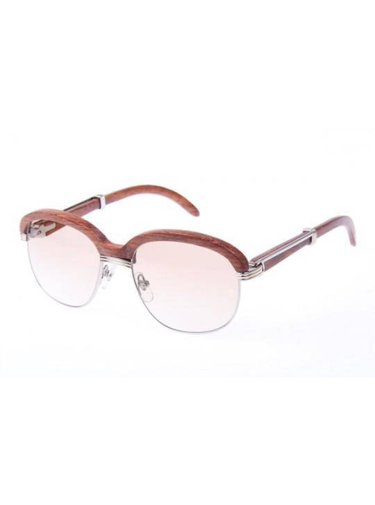 Cartier 1116679 Sunglasses In Silver Brown Gradient