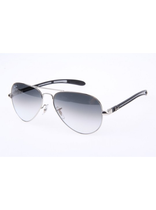 Ray Ban RB8307 Aviator Tech Sunglasses in Silver Gradient Grey Lens 003 32