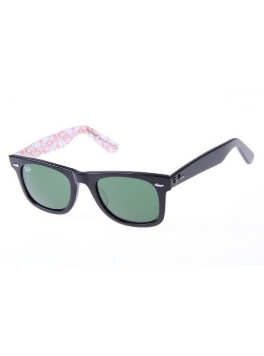 Ray Ban Wayfarer RB2140 50-22 Letter Sunglasses Black White 1017