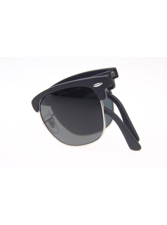 Ray Ban Floding RB2176 Polarized Sunglasses in Matte Black Silver Grey Lens