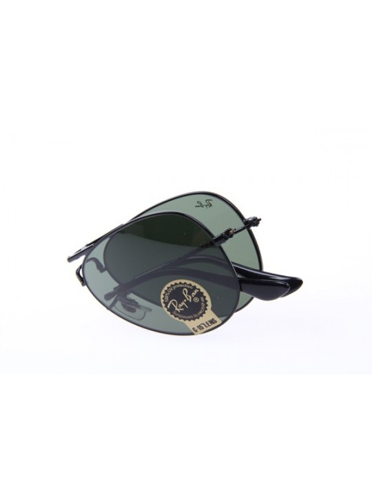 Ray Ban Aviator RB3479 Folding Sunglasses In Black With Green Lens L2823