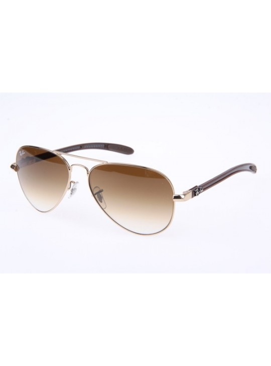 Ray Ban RB8307 Sunglasses Carbon Fiber in Gold Brown Gradient 001 51