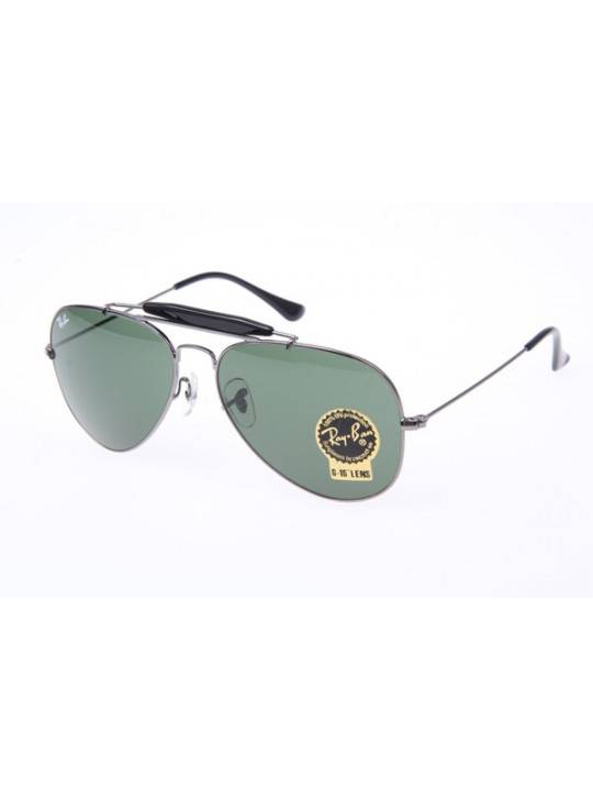 Ray Ban RB3407 Outdoorsman Sunglasses in Gunmetal Green 004