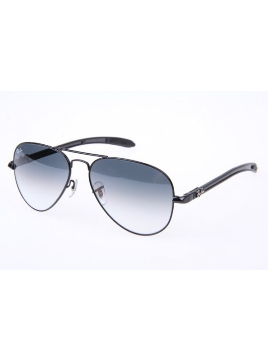 Ray Ban RB8307 Aviator Tech Sunglasses in Black Gradient Gray Lens 002 32