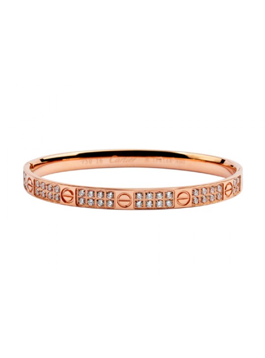 Cartier Pink Gold LOVE Bangle with Pave Diamonds