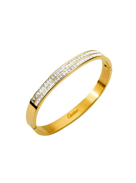 Cartier Bangle in 18kt Yellow Gold with Pave Diamonds
