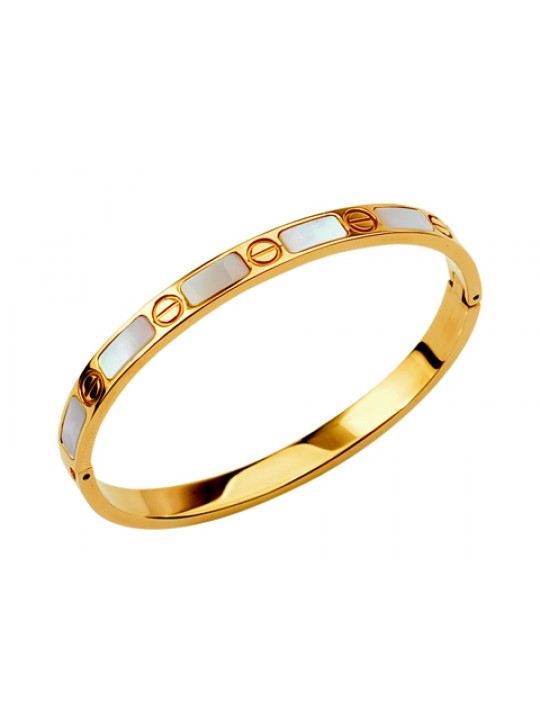 Cartier 18kt Yellow Gold Love Bangle with Mother of Pearl