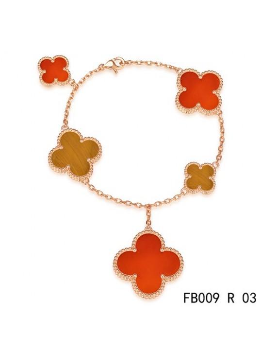 Van Cleef & Arpels Magic Alhambra 5 Motifs Stone Combination Bracelet Pink Gold
