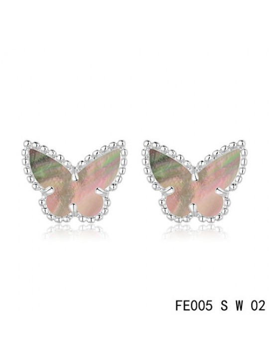 Van Cleef & Arpels Sweet Alhambra Grey Mother-of-pearl Butterfly Earstuds White Gold