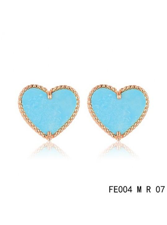 Van Cleef & Arpels Pink Gold Sweet Alhambra Turquoise Heart Earstuds