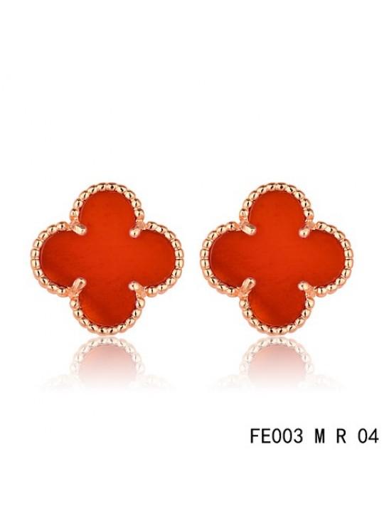 Van Cleef & Arpels Vintage Alhambra Clover Earrings Pink Gold Carnelian