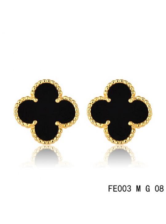 Van Cleef & Arpels Sweet Alhambra Earrings Yellow Gold,Black Onyx