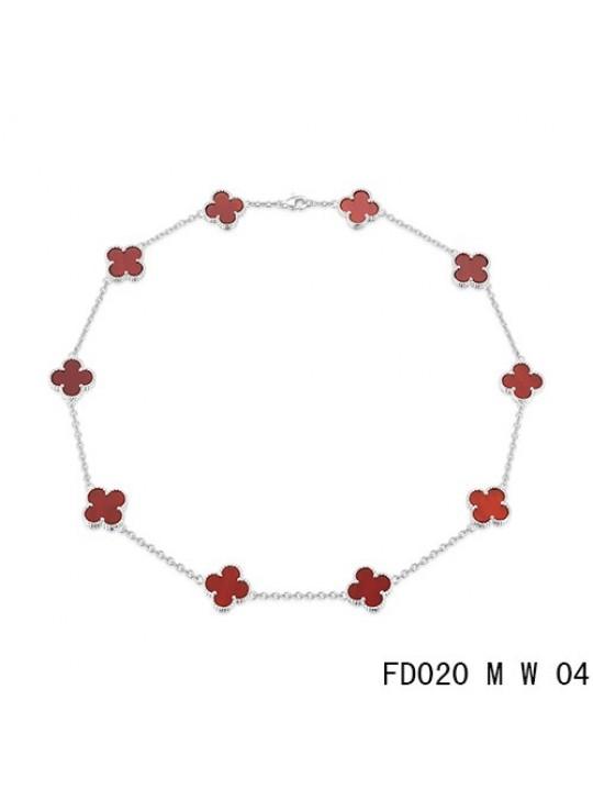 Van Cleef Arpels Vintage Alhambra Necklace White Gold 10 Motifs Carnelian