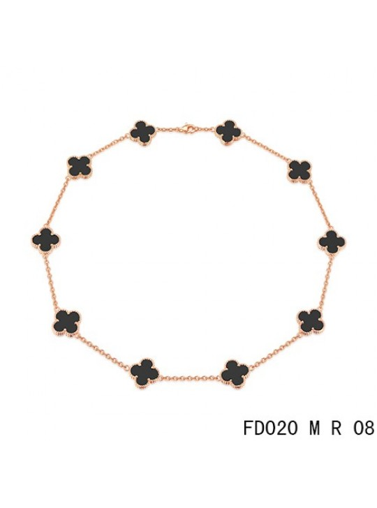 Van Cleef Arpels Vintage Alhambra Necklace Pink Gold 10 Motifs Black Onyx