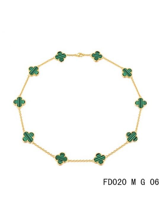 Van Cleef Arpels Vintage Alhambra Necklace Yellow Gold 10 Motifs Malachite