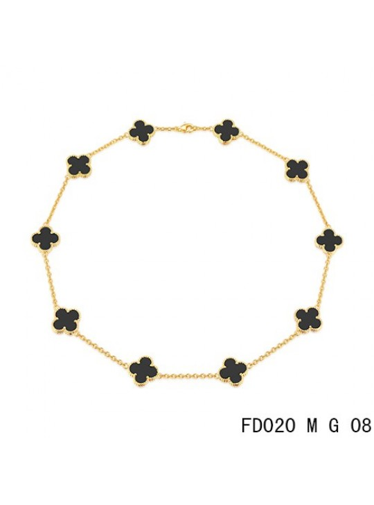 Van Cleef Arpels Vintage Alhambra Necklace Yellow Gold 10 Motifs Black Onyx