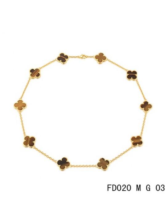Van Cleef Arpels Vintage Alhambra Necklace Yellow Gold 10 Motifs Tiger's Eye