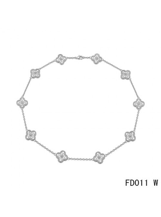 Van Cleef & Arpels White Gold Vintage Alhambra Necklace 10 Motifs with Pave Diamonds