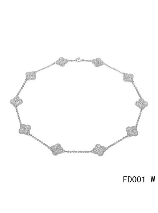 Van Cleef & Arpels Vintage Alhambra Long Necklace White Gold 10 Motifs