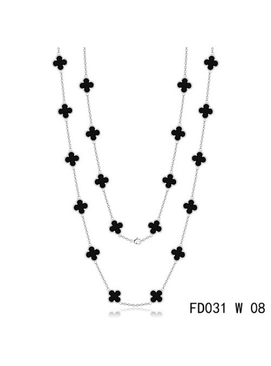 Van Cleef & Arpels Vintage Alhambra 20 Motifs Long Necklace White Gold Black Onyx