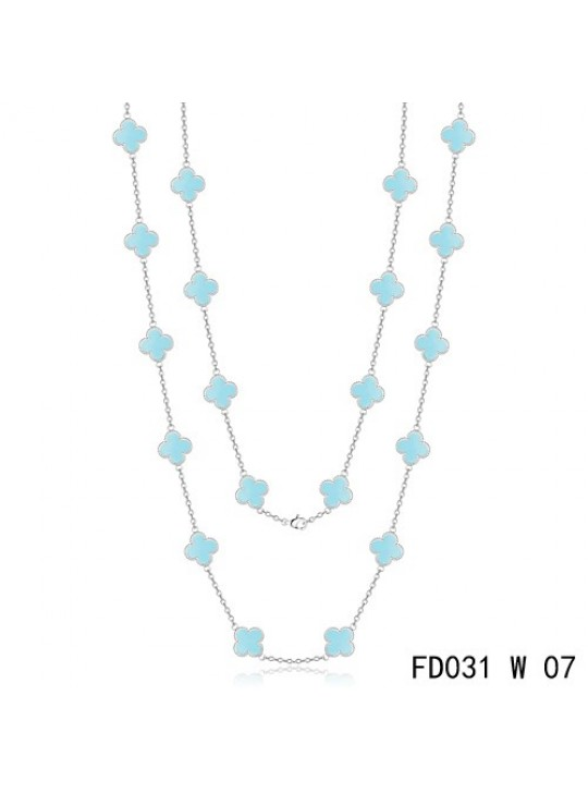 Van Cleef & Arpels Vintage Alhambra 20 Motifs Long Necklace White Gold Turquoise