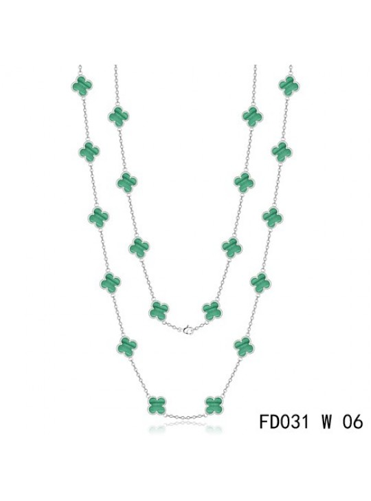 Van Cleef & Arpels Vintage Alhambra 20 Motifs Long Necklace White Gold Malachite