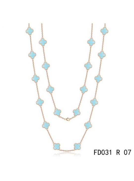 Van Cleef & Arpels Vintage Alhambra 20 Motifs Long Necklace Pink Gold Turquoise