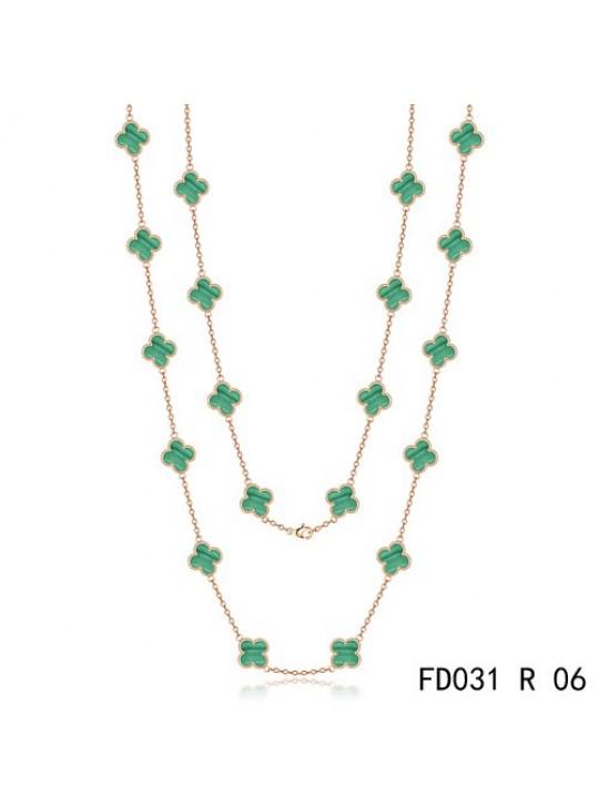 Van Cleef & Arpels Vintage Alhambra 20 Motifs Long Necklace Pink Gold Malachite