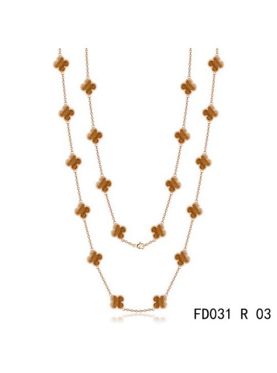 Van Cleef & Arpels Vintage Alhambra 20 Motifs Long Necklace Pink Gold Tiger's Eye