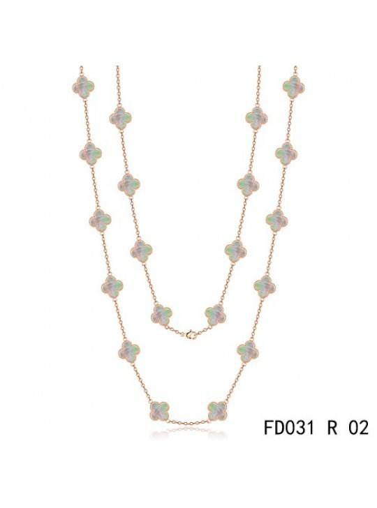 Van Cleef & Arpels Vintage Alhambra 20 Motifs Long Necklace Pink Gold Grey MOP