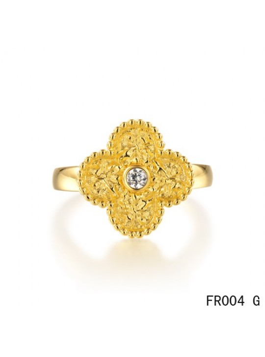 Van Cleef & Arpels Vintage Alhambra Ring,Yellow Gold with Diamond