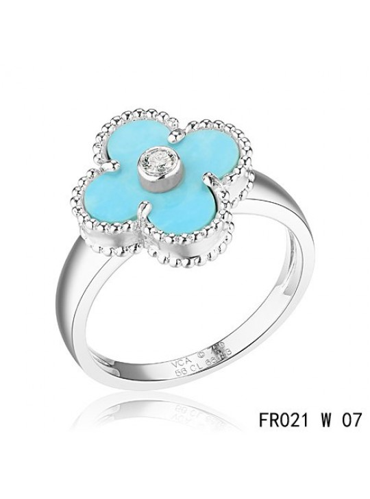 Van Cleef & Arpels White Gold Vintage Alhambra Ring Turquoise with Diamond