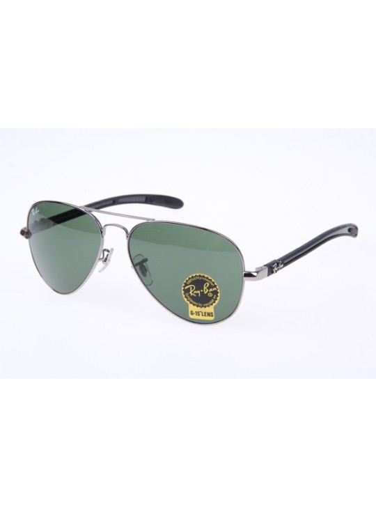 Ray Ban RB8307 Aviator Tech Sunglasses in Gunmetal Green Lens 004