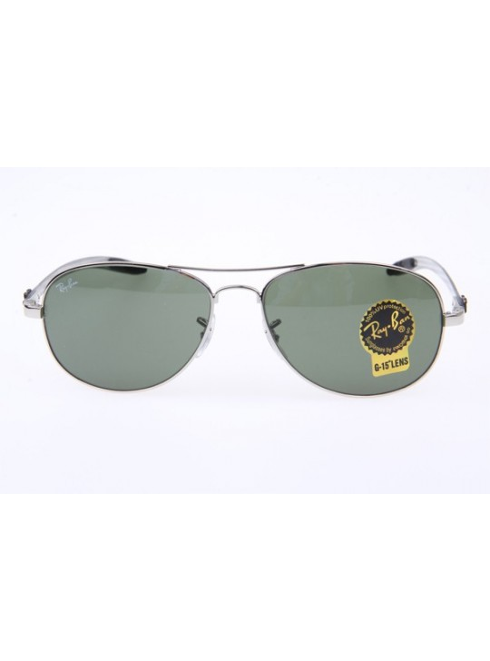 Ray Ban RB8301 Aviator Carbon Fiber Tech Sunglasses in Silver Green 003
