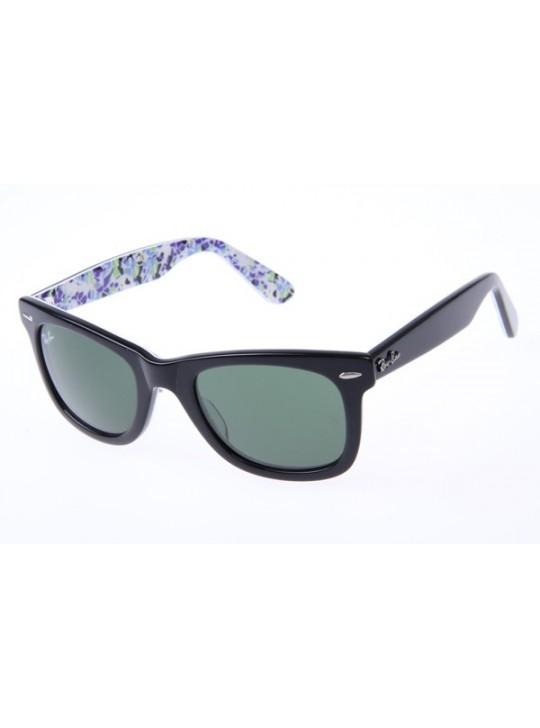 Ray Ban Wayfarer RB2140 50-22 Flower Sunglasses in Black 1019