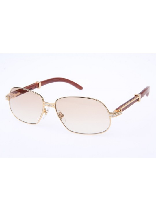 Cartier 1104836 Wood Sunglasses in Gold with Brown lens