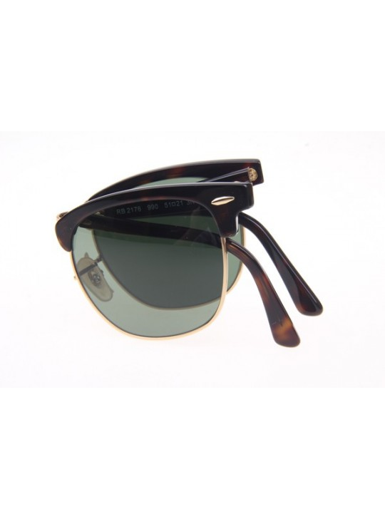 Ray Ban Floding RB2176 Sunglasses in Tortoise Gold Green Lens