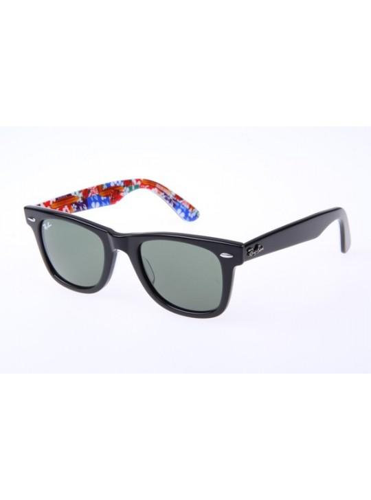 Ray Ban Wayfarer RB2140 50-22 Flower Sunglasses In Black Red 1136