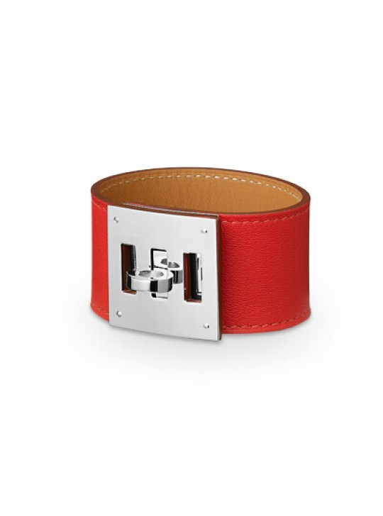 Hermes Red Leather Kelly Dog Bracelet with White Gold Plated Clasp
